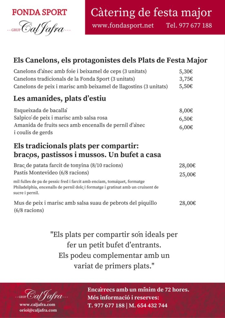 Catering de Festa Major de la Fonda Sport